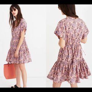 Madewell Button Front Tiered Dress Oasis Palms L